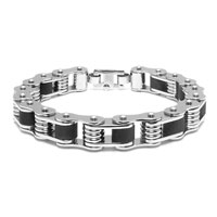 Stainless Steel Bicycle Chain Bracelet with Black Accents
