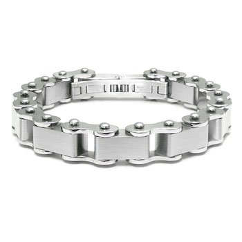Stainless Steel Men's Mechanic Satin Finish Bike Link Bracelet