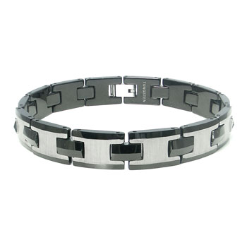 Tungsten Carbide Men's Two Tone Satin Link Bracelet