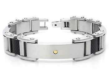 Stainless Steel Carbon Fiber 18K Gold Men's Bracelet