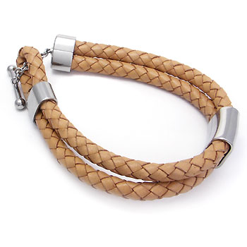 Stainless Steel Braided Leather Toggle Bracelet