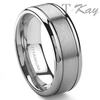 TENSUS Titanium 8mm Grooved Wedding Ring