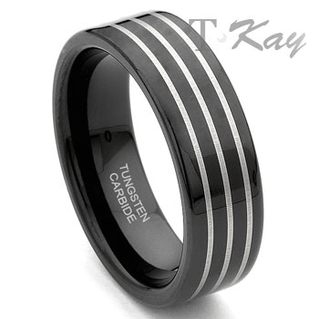 Black Tungsten Carbide Wedding Band Ring w/ 3 Grooves