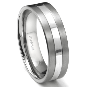 Titanium 7mm Two Tone Wedding Ring