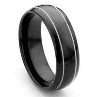 Black Tungsten Carbide Dome Wedding Band Ring w/ Grooves