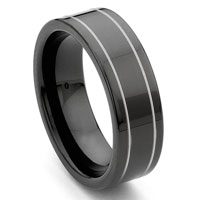 Black Tungsten Carbide Wedding Band Ring w/ Grooves
