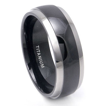 Black Titanium Band with Grey Titanium Edge