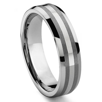 DON 6MM Tungsten Carbide 14K White Gold Inlay Wedding Band