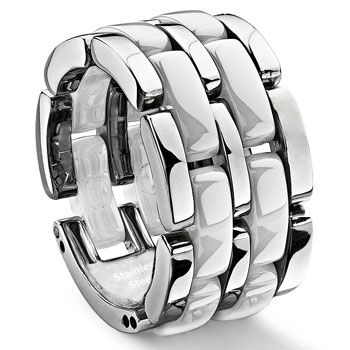 2 Row White Diamond Ceramic Unisex Wedding Ring