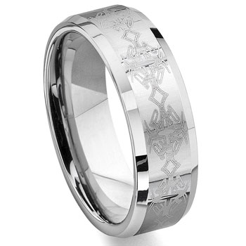 ASFUR Tungsten Carbide Laser Engraved Celtic Wedding Band Ring