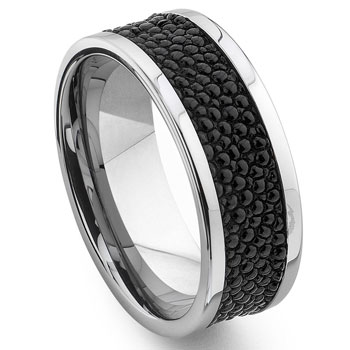 Tungsten Carbide Black Stingray Leather Band Ring