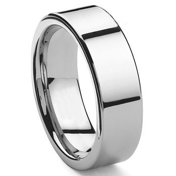 Tungsten Carbide 10MM Flat Wedding Band Ring