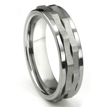 Ninja Star Tungsten Carbide Spinning Wedding Band Ring