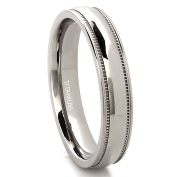 Titanium 4mm Milgrain Wedding Band Ring