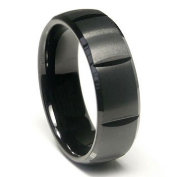 Black Tungsten Carbide 8MM Dome Wedding Band Ring w/ horizontal grooves