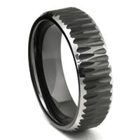 Black Tungsten Carbide Hammer Finish Beveled Wedding Band Ring