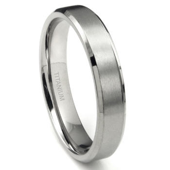 Titanium 5mm Beveled Wedding Band Ring w/ Brushed Center