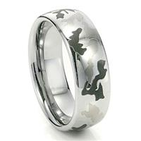 Military Camouflage Men's Tungsten Carbide Wedding Ring