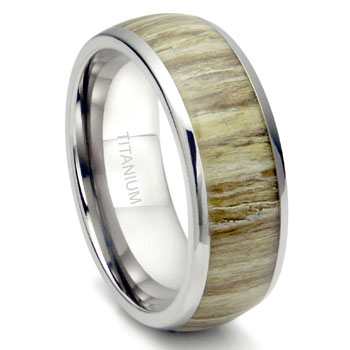 Titanium 8MM Domed Ashen Zebra Rosewood Inlay Wedding Band Ring