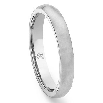 Cobalt XF Chrome 4MM Plain Brush Finish Dome Wedding Band Ring