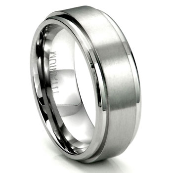 Titanium 8mm Wedding Ring w/ Brush Center