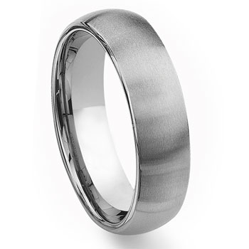 Tungsten Carbide 7MM Men's Brush Finish Plain Dome Wedding Band