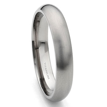 Titanium 4mm Satin Finish Dome Wedding Band Ring