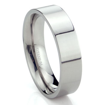 Titanium 6mm High Polish Flat Wedding Band Ring