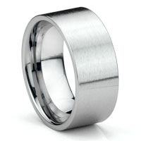 Tungsten Carbide 10MM Flat Brush Finish Wedding Band Ring