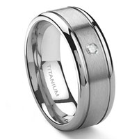 Titanium 8mm Solitaire Diamond Newport Wedding Ring