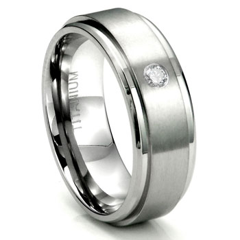 Titanium 8mm Solitaire Diamond Wedding Ring w/ Brush Center