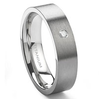 Titanium 6mm Solitaire Diamond Brush Finish Flat Wedding Band Ring