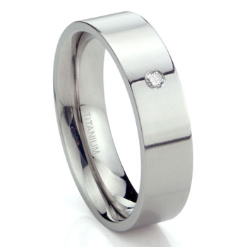 Titanium 6mm Solitaire Diamond High Polish Flat Wedding Band Ring