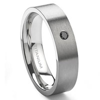 Titanium 6mm Solitaire Black Diamond Brush Finish Flat Wedding Band Ring