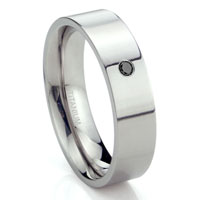 Titanium 6mm Solitaire Black Diamond High Polish Flat Wedding Band Ring