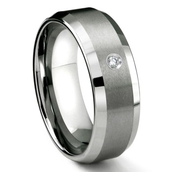 Tungsten Carbide 8MM Satin Finish Beveled Diamond Solitaire Wedding Band ring