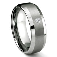 Tungsten Carbide 8MM Satin Finish Beveled Diamond Solitaire Men's Wedding Band ring