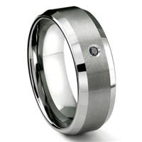 Tungsten Carbide 8MM Satin Finish Beveled Black Diamond Solitaire Wedding Band ring