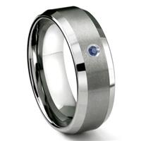 Tungsten Carbide 8MM Satin Finish Beveled Sapphire Solitaire Men's Wedding Band ring