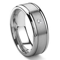 Tungsten Carbide Solitaire Diamond Newport Wedding Band Ring