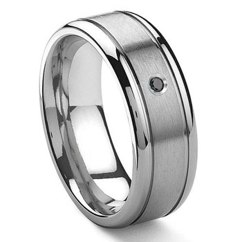 Tungsten Carbide Solitaire Black Diamond Newport Wedding Band Ring