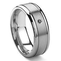 Tungsten Carbide Solitaire Black Diamond Newport Men's Wedding Band Ring