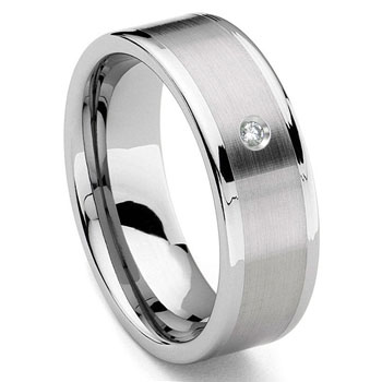 Tungsten Carbide 8MM Flat Diamond Wedding Band Ring w/ Brush Center