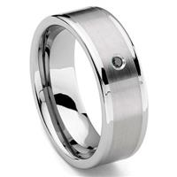 Tungsten Carbide 8MM Flat Black Diamond Men's Wedding Band Ring w/ Brush Center