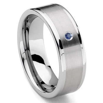 Tungsten Carbide 8MM Flat Sapphire Wedding Band Ring w/ Brush Center