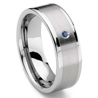 Tungsten Carbide 8MM Flat Sapphire Men's Wedding Band Ring w/ Brush Center