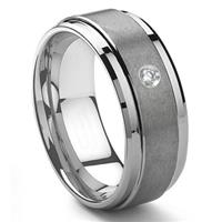 Tungsten Carbide 9MM Diamond Wedding Band ring w/ Stepped edges