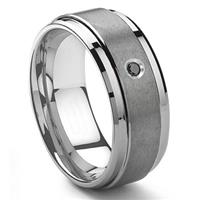 Tungsten Carbide 9MM Black Diamond Men's Wedding Band ring w/ Stepped edges