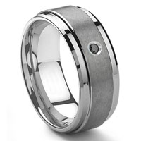 Tungsten Carbide 9MM Black Diamond Wedding Band ring w/ Stepped edges