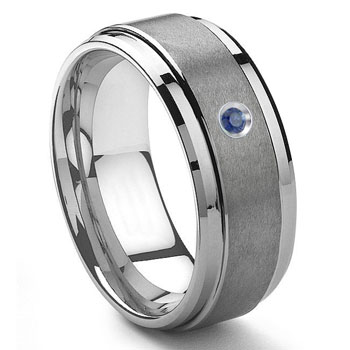 Tungsten Carbide 9MM Sapphire Wedding Band ring w/ Stepped edges